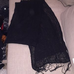 100% cashmere extra long black scarf